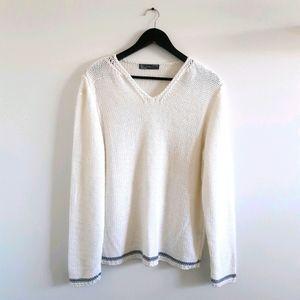 ZARA White Loose Knit V-Neck Pullover Sweater
